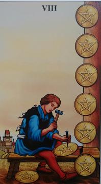 Consulta de Tarot oito de ouros